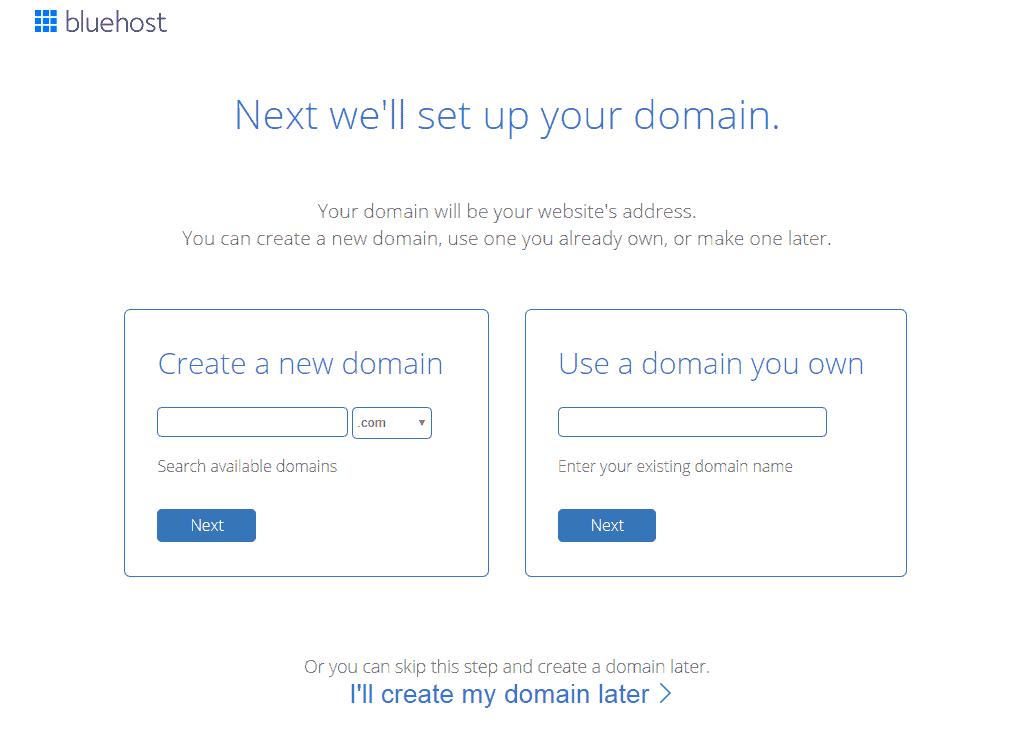 Bluehost Create a domain